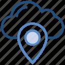cloud, location, marker, navigation, pin, pointer, storage icon