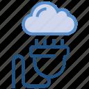 cloud, cloud plugin, electricity, plug, server, storage, switch icon