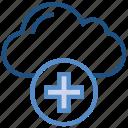 add, add cloud, cloud, data, plus, storage icon