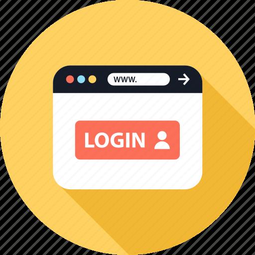 browser, login, web, www icon