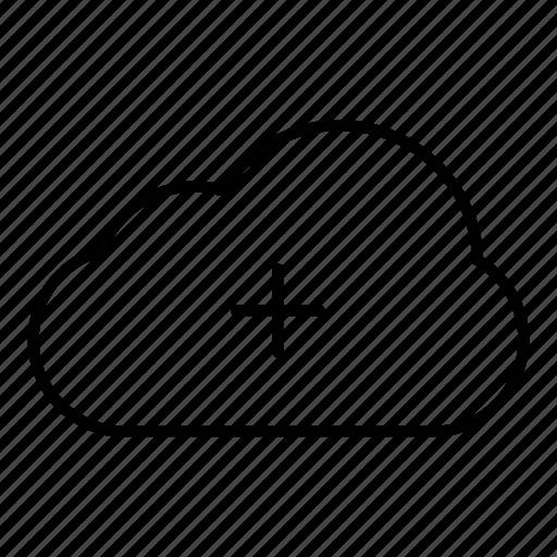add, cloud, cloud computing, computing, connection, internet, plus, server icon