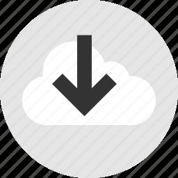 arrow, cloud, down, point icon