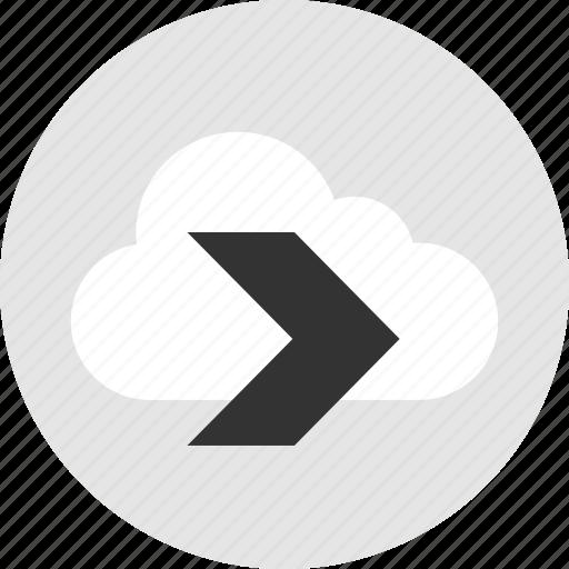 arrow, cloud, go, right icon