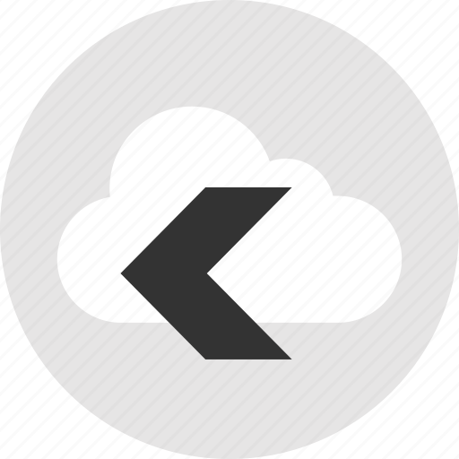 back, cloud, left, point, storage icon