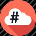 cloud, data, hashtag, save icon