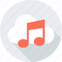 cloud, music, note, weather icon