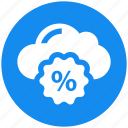 cloud, interest, percentage, percentage sign, rate icon