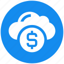 cloud, coin, currency, dollar, fund, money icon