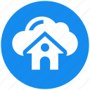 cloud, cloud computing, connected, house, real estate, server icon