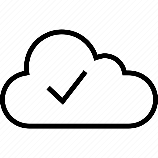 check, cloud, data, mark, ok, server icon