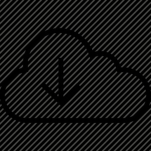 arrow, cloud, data, down, download, server icon