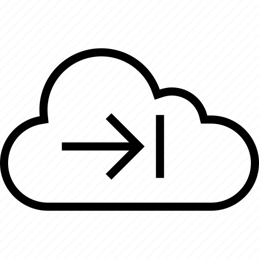 arrow, cloud, data, forward, server icon