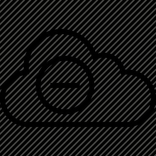 cloud, data, negative, server, sign icon