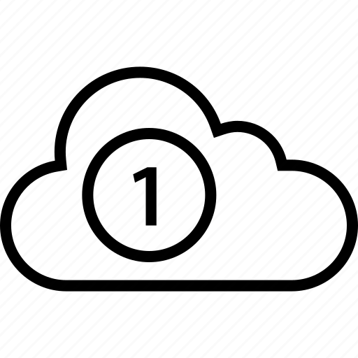 cloud, data, number, one, server icon