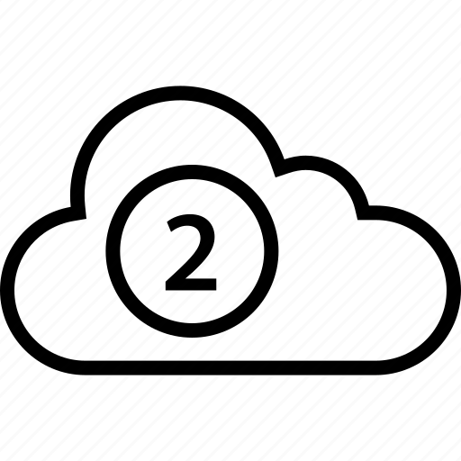 cloud, data, number, server, two icon