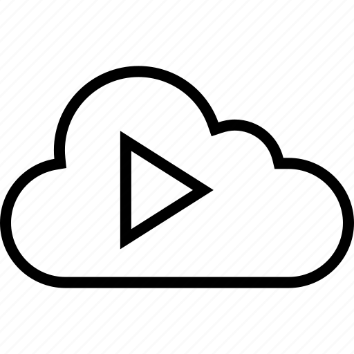 cloud, data, music, play, server, video icon