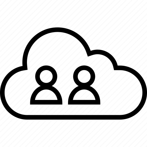 cloud, data, server, two, users icon