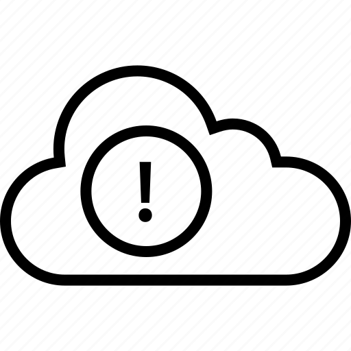 cloud, data, server, sign, warning icon