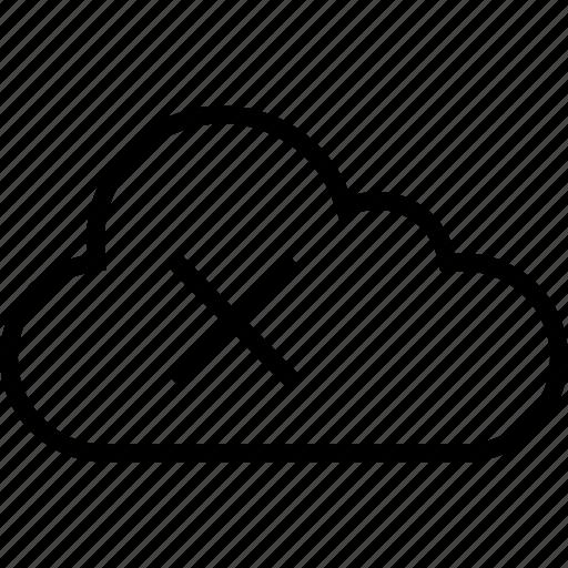 cloud, cross, data, server, x icon