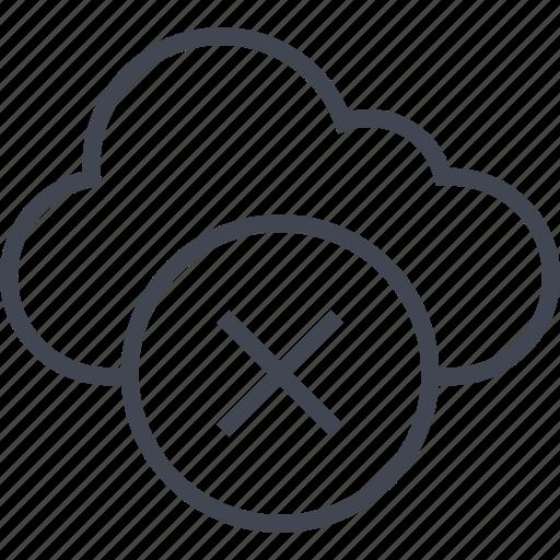 activity, cloud, cross, denied, stop icon