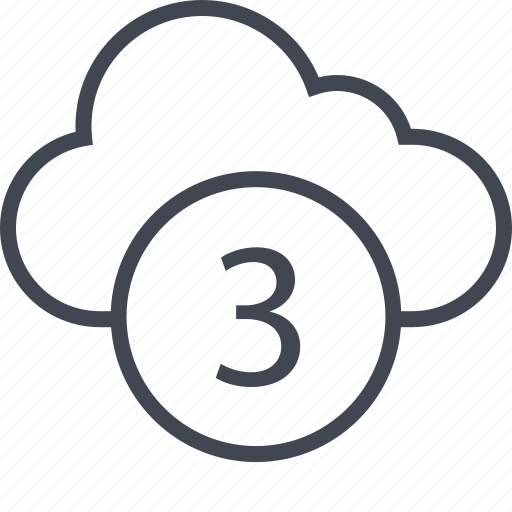 activity, cloud, number, three icon