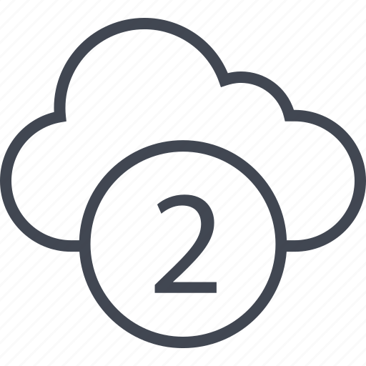 activity, cloud, number, two icon