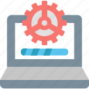 computer, data, gear, information, loading, processing, technology icon