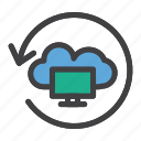cloud, display, network, restore, server icon