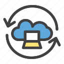 cloud, laptop, network, restore, server icon
