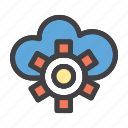 cloud, network, server, setting icon