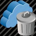cloud, computing, delete, dustbin, trash