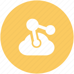 cloud computing, cloud network, cyberspace, share sign, social media, technology concept icon