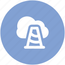 cloud computing, construction cone, network alert, network progress, network traffic, stop site icon