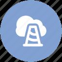 cloud computing, construction cone, network alert, network progress, network traffic, stop site icon