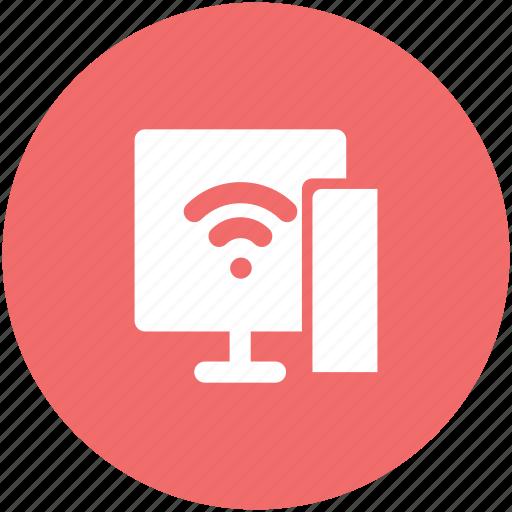 computer screen, connectivity concept, internet, internet coverage, network fidelity, wifi zone, wireless signals icon