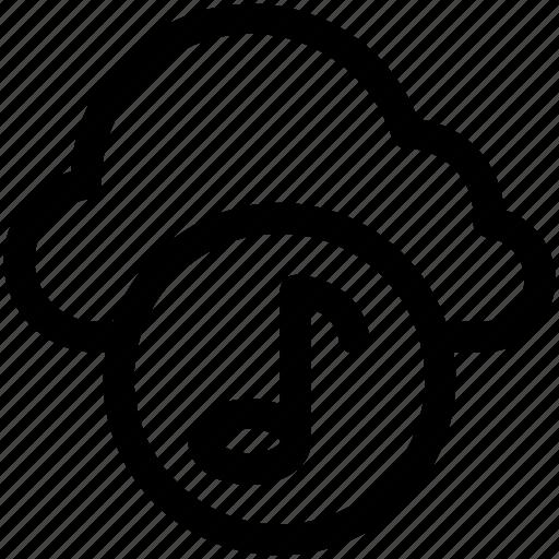 cloud music, music file, online media, online multimedia, online music icon