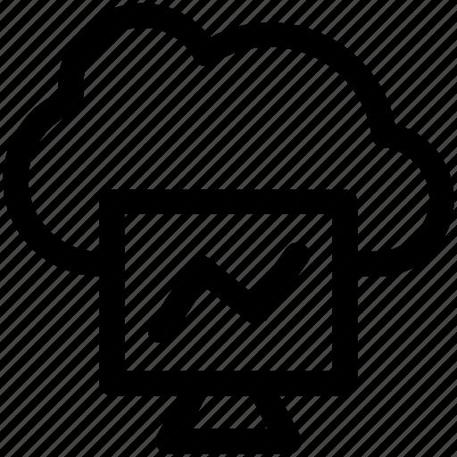 analytics, bar chart, cloud computing, cloud graph, online graph icon
