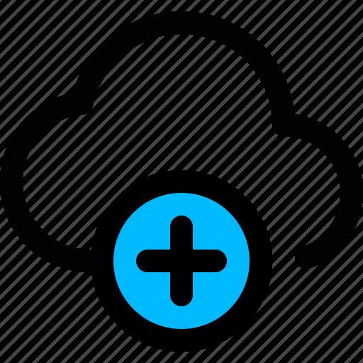 add, add cloud, cloud, data, plus icon