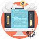 cloud computing php, cloud computing programming, cloud hosting, cloud php application, in demand cloud programming icon