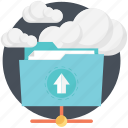 cloud computing, cloud folder, folder, uploading icon