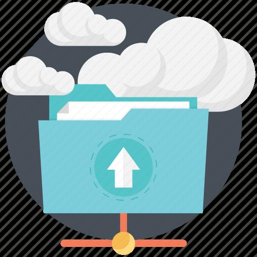 cloud computing, cloud folder, folder, uploading icon