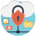 cloud storage, folder, locked, picture, safe storage, secure, video icon