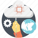 cloud computing, global, processor icon