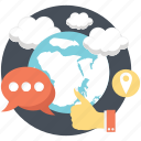 cloud, comment, global, like, social icon