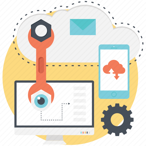 cloud computing, computer, mobile, settings icon