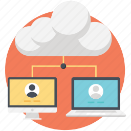 cloud computing, cloud network, laptop, network, networking icon