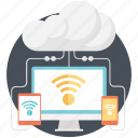 cloud, cloud computing, internet, mobile, monitor, wifi icon