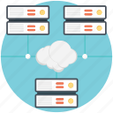 big data, cloud data center, cloud data storage, cloud database, cloud network server icon