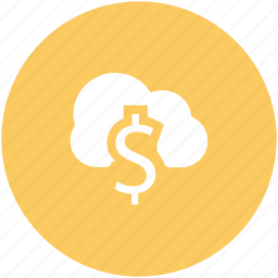 cloud network, currency symbol, dollar sign, financial concept, global business, modern technology, online business icon
