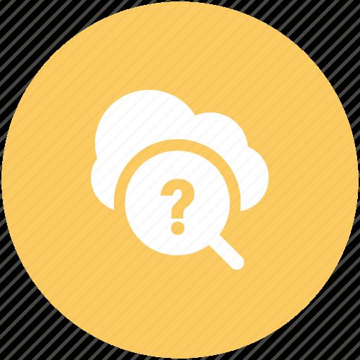 cloud computing, cloud network, explore, faq, information technology, question mark, search symbol icon